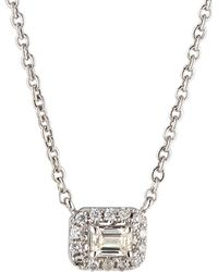 Neiman Marcus - 14k White Gold Diamond Rectangular Solitaire Pendant Necklace - Lyst