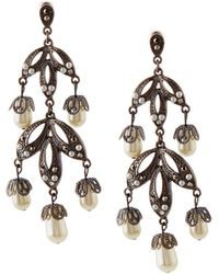 Lydell NYC - Hematite Crystal & Simulated Pearl Chandelier Earrings - Lyst