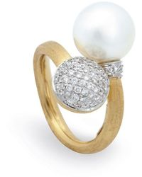 Marco Bicego - 18k Diamond & Pearl Hugging Ring Size 7 - Lyst