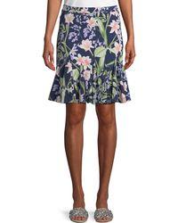 Karl Lagerfeld - Floral-print Soft Godet Skirt - Lyst
