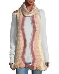 BCBGMAXAZRIA - Crochet Striped Pompom Trim Muffler - Lyst