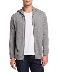 Neiman Marcus Men's Cashmere Zip-front Hoodie - Gray