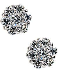 Neiman Marcus - 14k White Gold Diamond Flower Stud Earrings - Lyst
