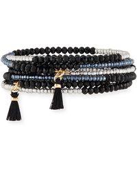 Panacea - Jet Crystal Coil Bracelet - Lyst