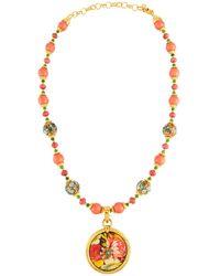 Jose & Maria Barrera - Cloisonné Beaded Necklace W/ Floral Découpage Pendant - Lyst