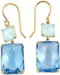 Ippolita - 18k Gold Rock Candy Rectangle Snowman Earrings In Amazonite/swiss Topaz - Lyst