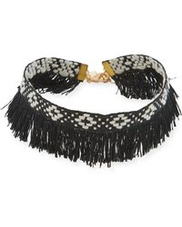 Panacea - Geometric Woven Fringed Choker Necklace - Lyst