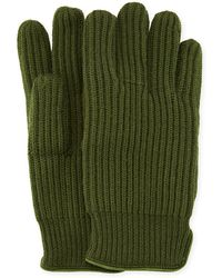 """Portolano - Men's 11"""" Suede-piped Knit Wool Gloves - Lyst"""