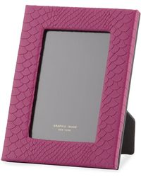 Graphic Image Python-embossed Leather Picture Frame - 4 X 6 - Pink