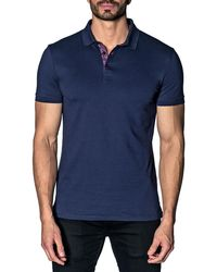 Jared Lang - Semi-fitted Abstract-revers Pique Polo Shirt - Lyst