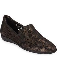 Sesto Meucci Brisia Metallic Leather Loafer Flats Black