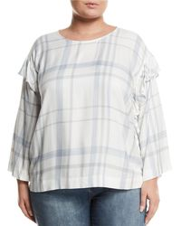Vince Camuto Signature - Ruffle-trimmed Bell-sleeve Plaid Blouse - Lyst