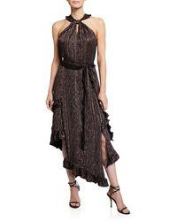 10 Crosby Derek Lam - Floral-print Asymmetrical Ruffle Halter Dress - Lyst