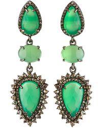 Bavna - Silver 3-drop Earrings With Chrysoprase & Diamonds - Lyst