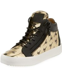 Giuseppe Zanotti - Men's Golden Logo High-top Sneakers - Lyst