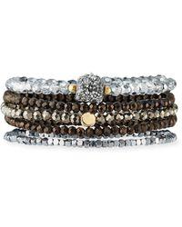 Panacea Bead Stretch Bracelets Set Of 5 Silver - Metallic