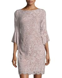 Chetta B - Lace Sheath Dress With Flounce Sleeves - Lyst