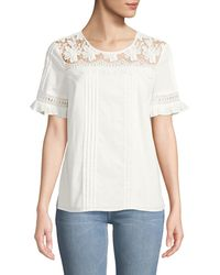 Karl Lagerfeld - Pleated Lace-yoke Short-sleeve Top - Lyst