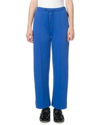 KENZO Cropped Side-stripe Jogger Track Pants - Blue