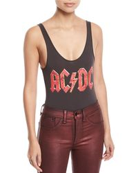Chaser - Classic Ac/dc Band Logo Graphic Bodysuit - Lyst