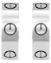 Cartier Estate 18k White Gold Love Earrings - Metallic
