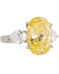 Fantasia by Deserio - Triple Oval & Pear Canary Cubic Zirconia Ring - Lyst