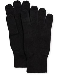 Portolano Men's Cashmere Jersey Gloves - Black