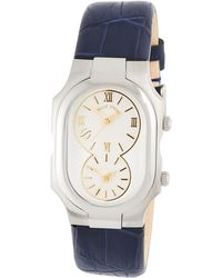 1aaeace9217 Philip Stein - Large Signature Dual Time Zone Watch W  Calfskin Strap - Lyst