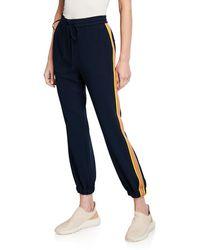 10 Crosby Derek Lam Drawstring Ankle Jogger Pants With Racer Stripes - Blue
