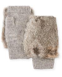 Adrienne Landau Fingerless Wool-blend Gloves W/ Fur - Gray