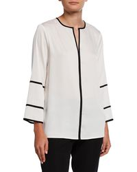 Donna Karan - Crewneck Contrast Piped Bell-sleeve Top - Lyst