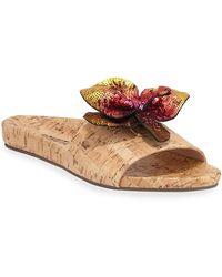 Geisa Cork Sequin Slide Sandals Flower Natural SzVqUMp