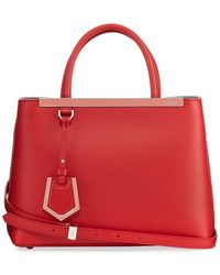 the latest 910d3 48734 2jours Two-tone Leather Satchel Bag - Red