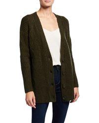 Kensie Fuzzy Knit Sweater Cardigan - Green
