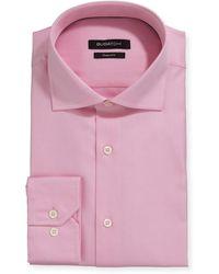 Bugatchi Men's Modern-fit Textured Poplin Dress Shirt - Pink