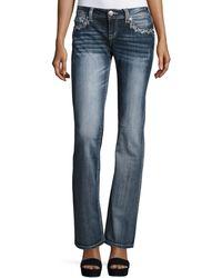Grace In La - Embroidered Boot-cut Denim Jeans - Lyst