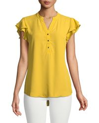 Carmen By Carmen Marc Valvo - Ruffle-tiered Button Front Blouse - Lyst