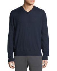 Vince Men's Wool V-neck Sweater With Elbow Patches - Blue