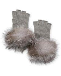 Neiman Marcus Metallic Knit Fingerless Gloves W/ Fur Cuffs - Gray
