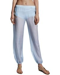 Anya Maj Jasmine Silk Chiffon Embroidered Pants Blue