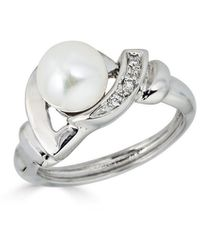 Belpearl Classic 14k White Gold Diamond & Pearl Ring Size 6.5 & 7
