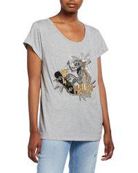 Zadig & Voltaire Meryl Cannetille Skeleton Beaded T-shirt - Gray