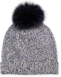Sofia Cashmere - Marbled-knit Beanie Hat W/ Fur Pompom - Lyst