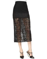 Jason Wu Cashmere-blend Lace Combo Midi Skirt - Black