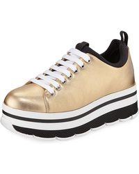 Prada - Metallic Platform Low-top Sneakers - Lyst
