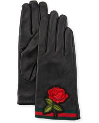 Neiman Marcus - Rose-embroidered Leather Gloves - Lyst