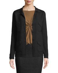Leon Max Collared Wool Sweater W/ Pockets - Black