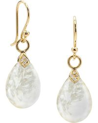 2d073ef05634e Small Eliza Mother-of-pearl Droplet Earrings With Diamonds - White