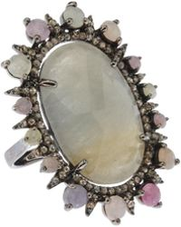 Bavna - Silver Oval Ring With Multicolor Sapphire & Diamonds - Lyst