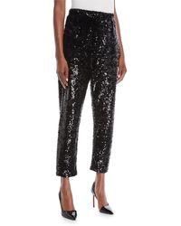 Joan Vass Petite Sequined Slim Ankle Pants - Black
